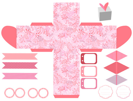 box template: Party set. Gift box template.  Abstract nature pattern with harbs. Empty labels and cupcake toppers and food tags. Illustration