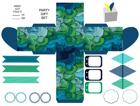 waves abstract: Party set. Gift box template.  Abstract swirl waves pattern. Empty labels and cupcake toppers and food tags.