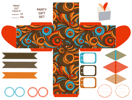 Party set. Gift box template.  Abstract swirl waves pattern. Empty labels and cupcake toppers and food tags.