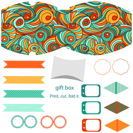 dieline: Party set. Gift box template.  Abstract swirl waves pattern. Empty labels and cupcake toppers and food tags.