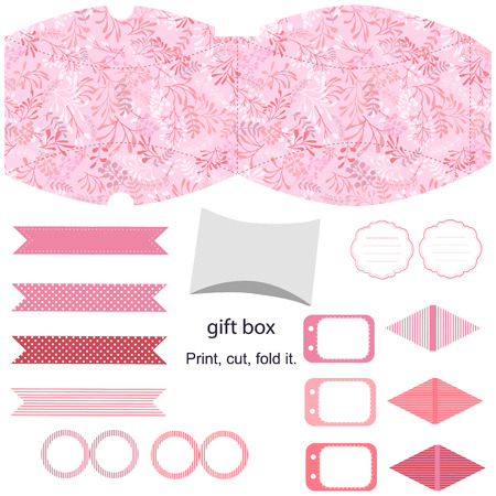 die cut: Party set. Gift box template.  Abstract nature pattern with harbs. Empty labels and cupcake toppers and food tags. Illustration