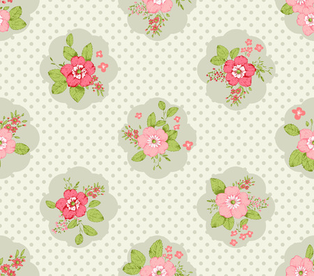 shabby: Shabby chic roses seamless pattern, classic floral background Illustration