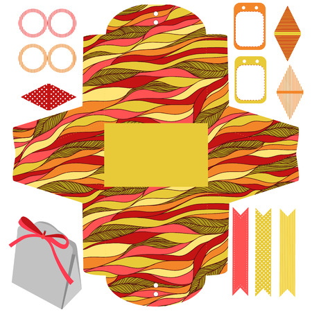 Party set. Gift box template.  Abstract waves doodles pattern. Empty labels and cupcake toppers and food tags. Illustration