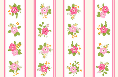 shabby: Roses seamless pattern, classic floral background