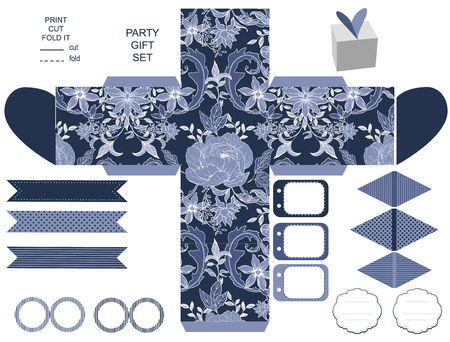 peonies: Party set. Gift box template.  Abstract vintage floral pattern with peonies. Empty labels and cupcake toppers and food tags. Illustration