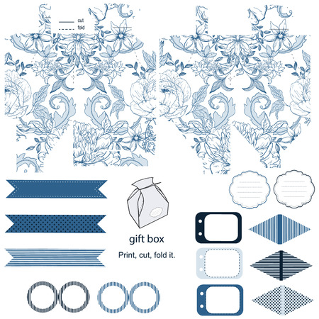 wedding favor: Party set. Gift box template.  Abstract vintage floral pattern with peonies. Empty labels and cupcake toppers and food tags. Illustration