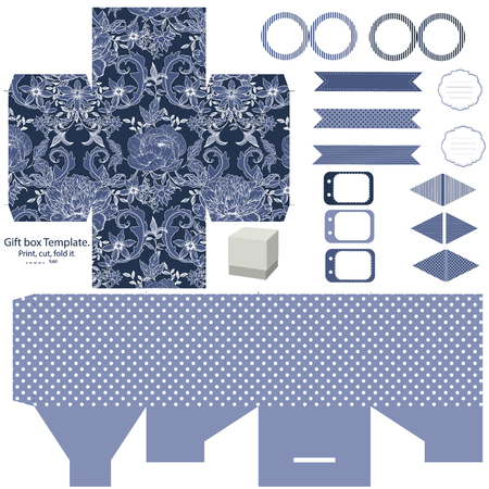 die cut: Party set. Gift box template.  Abstract vintage floral pattern with peonies. Empty labels and cupcake toppers and food tags. Illustration