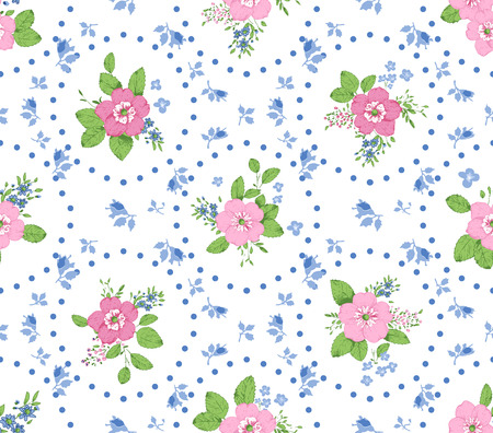 shabby chic: Shabby chic roses seamless pattern, classic floral background Illustration