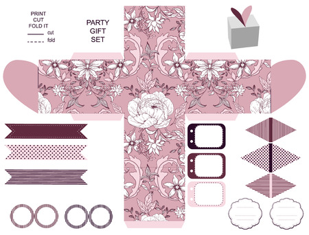 Party set. Gift box template.  Abstract vintage floral pattern with peonies. Empty labels and cupcake toppers and food tags. 일러스트