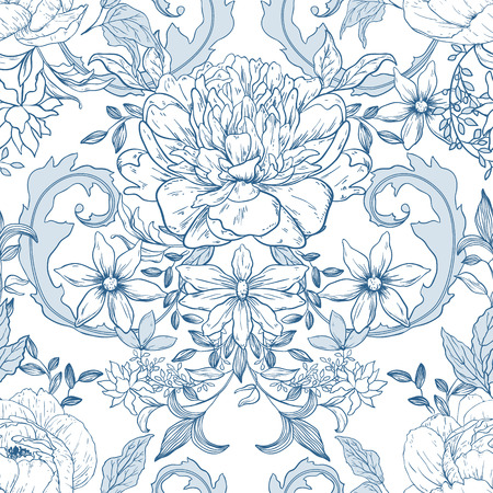 victorian pattern: Seamless vintage floral pattern; retro background