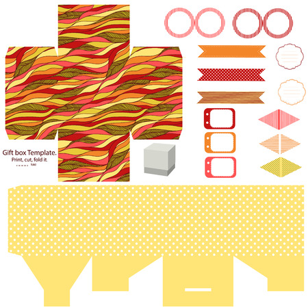 dieline: Party set. Gift box template.  Abstract waves doodles pattern. Empty labels and cupcake toppers and food tags. Illustration