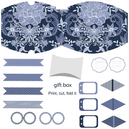 box template: Party set. Gift box template.  Abstract vintage floral pattern with peonies. Empty labels and cupcake toppers and food tags. Illustration