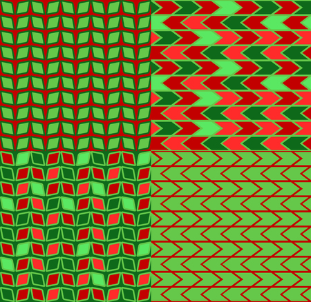 chevron patterns: Set of four green and red chevron patterns and backgrounds Illustration