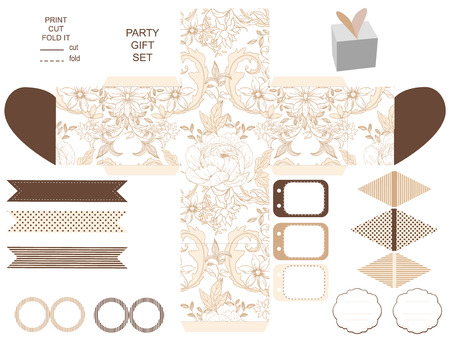 diecut: Party set. Gift box template.  Abstract vintage floral pattern with peonies. Empty labels and cupcake toppers and food tags. Illustration