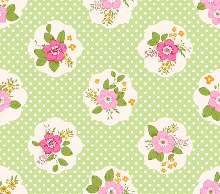 romanticist: Shabby chic roses seamless pattern, classic floral background Illustration