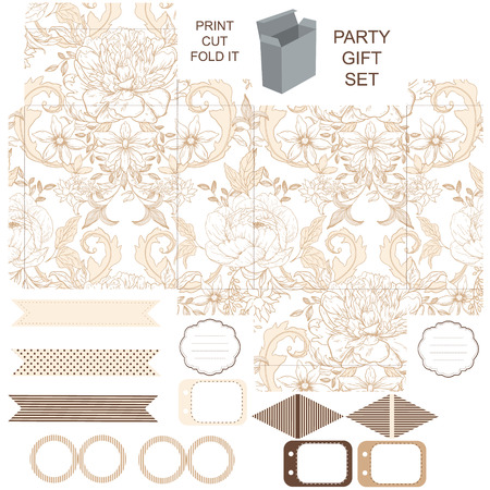 dieline: Party set. Gift box template.  Abstract vintage floral pattern with peonies. Empty labels and cupcake toppers and food tags. Illustration