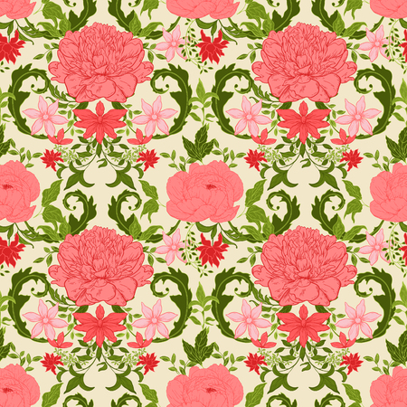 classic classical: Seamless vintage floral pattern; retro background