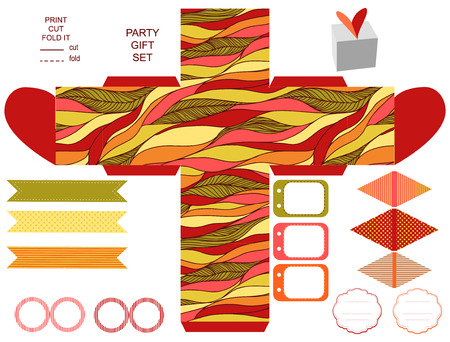 box template: Party set. Gift box template.  Abstract waves doodles pattern. Empty labels and cupcake toppers and food tags. Illustration