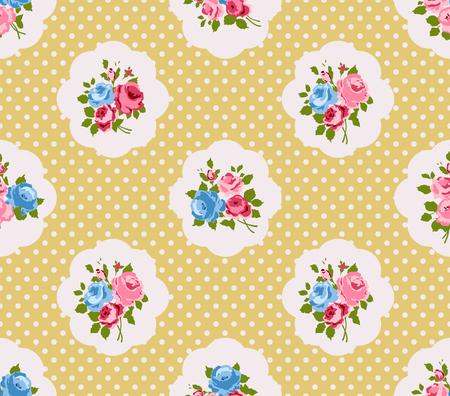 antik: Shabby chic Rosen nahtlose Muster, klassischer Blumenhintergrund Illustration
