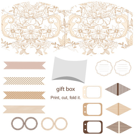 die line: Party set. Gift box template.  Abstract vintage floral pattern with peonies. Empty labels and cupcake toppers and food tags. Illustration