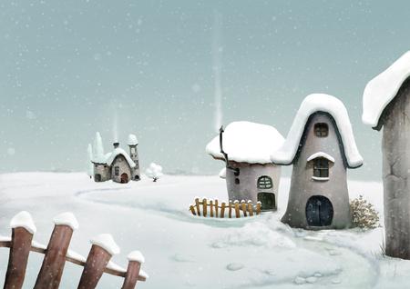 Winter landscape. Surreal cartoon wonderland country village, romantic fairy tale landscape. Illustration. Banque d'images