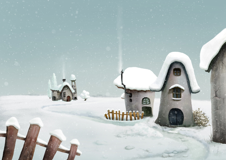 Winter landscape. Surreal cartoon wonderland country village, romantic fairy tale landscape. Illustration. Imagens