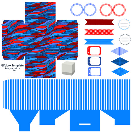 Party set. Gift box template.  Abstract waves pattern. Empty labels and cupcake toppers and food tags.