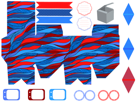 box template: Party set. Gift box template.  Abstract waves pattern. Empty labels and cupcake toppers and food tags.