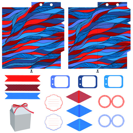 waves pattern: Party set. Gift box template.  Abstract waves pattern. Empty labels and cupcake toppers and food tags.