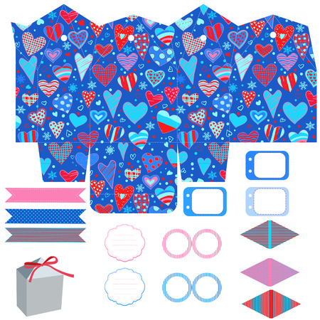 box template: Party set. Gift box template. Empty labels and cupcake toppers and food tags.  Hearts love pattern. Illustration