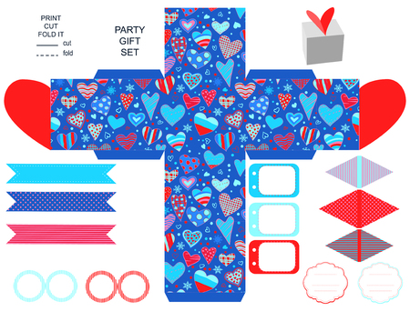 topper: Party set. Gift box template. Empty labels and cupcake toppers and food tags.  Hearts love pattern. Illustration