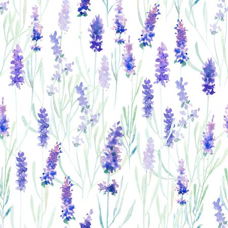 수채화 라벤더 패턴과 원활한 배경입니다. 직물 및 종이 또는 스크랩 예약에 인쇄에 적합합니다. 손으로 그린. 래스터 그림.