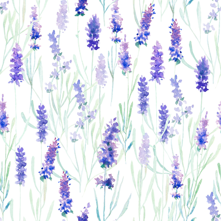 Watercolor lavender pattern and seamless background. Ideal for printing onto fabric and paper or scrap booking. Hand painted. Raster illustration. Stock Photo