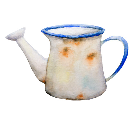 Watercolor illustration of rusty jug.  Isolation clipping path included. Easy to isolate. Raster hand-painted illustration Stock Photo