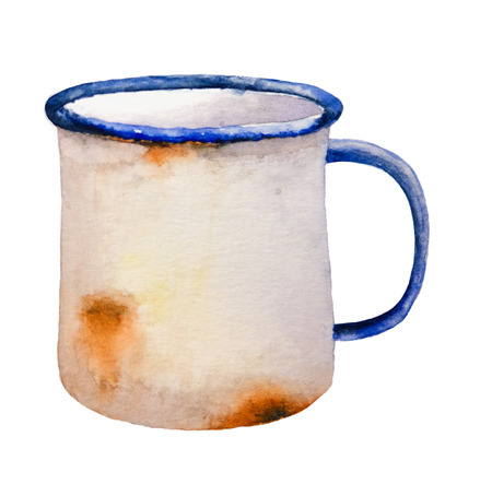 pitting: Watercolor illustration of rusty mug.  Isolation clipping path included. Easy to isolate. Raster hand-painted illustration