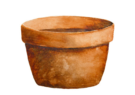 pots: Watercolor rusty earthenware pot. Isolation clipping path included. Easy to isolate. Raster hand-painted illustration Stock Photo