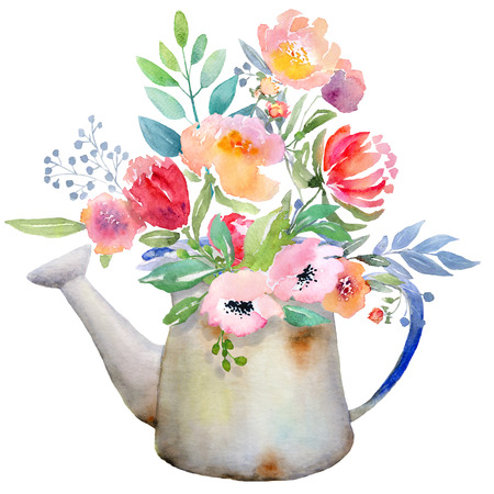 rustic food: Watercolor floral composition. Jug with flowers. Fast isolation. Hi-res file. Hand painted. Raster illustration.