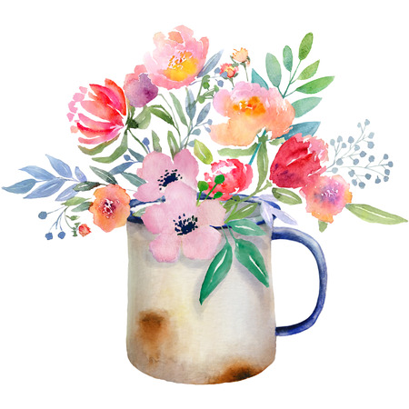 arrangements: Watercolor floral composition. Jug with flowers. Fast isolation. Hi-res file. Hand painted. Raster illustration.