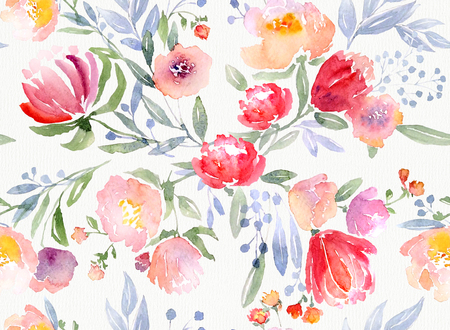 Watercolor floral botanical pattern and seamless background. Ideal for printing onto fabric and paper or scrap booking. Hand painted. Raster illustration. 免版税图像 - 52526806