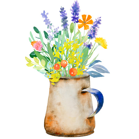 Watercolor floral composition. Jug with flowers. Fast isolation. Hi-res file. Hand painted. Raster illustration.