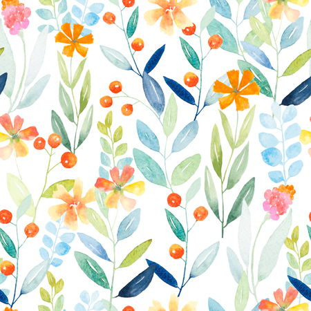 Watercolor floral botanical pattern and seamless background. Ideal for printing onto fabric and paper or scrap booking. Hand painted. Raster illustration. Fast isolation. Stock Photo