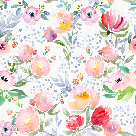 field of flowers: Watercolor floral botanical pattern and seamless background. Ideal for printing onto fabric and paper or scrap booking. Hand painted. Raster illustration.