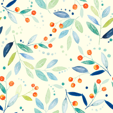 Watercolor floral botanical pattern and seamless background. Ideal for printing onto fabric and paper or scrap booking. Hand painted. Raster illustration. Fast isolation. Banco de Imagens