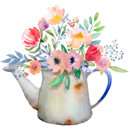 floral arrangements: Watercolor floral composition. Jug with flowers. Fast isolation. Hi-res file. Hand painted. Raster illustration.