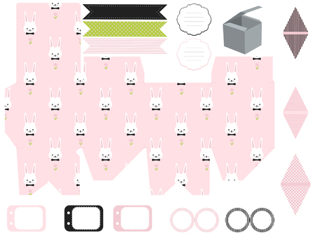dieline: Party set. Gift box template. Empty labels and cupcake toppers and food tags.  Easter bunny pattern.