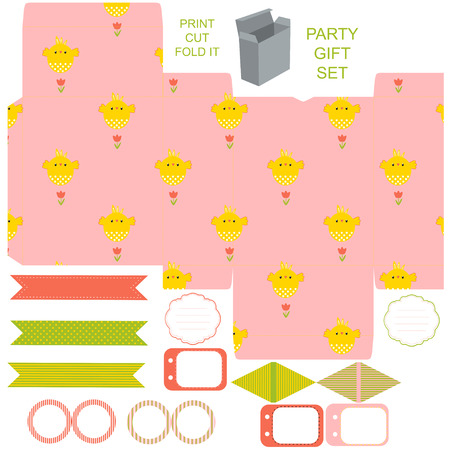 diecut: Easter Party set. Gift box template. Empty labels and cupcake toppers and food tags.  Easter pattern with chicken. Illustration