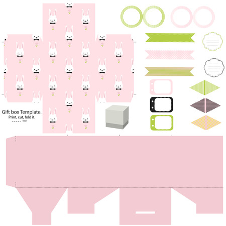 party set gift box template empty labels and cupcake toppers and food tags