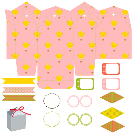 die line: Easter Party set. Gift box template. Empty labels and cupcake toppers and food tags.  Easter pattern with chicken. Illustration