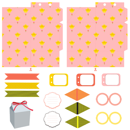box template: Easter Party set. Gift box template. Empty labels and cupcake toppers and food tags.  Easter pattern with chicken. Illustration