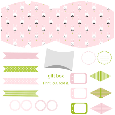 topper: Party set. Gift box template. Empty labels and cupcake toppers and food tags.  Easter bunny pattern.